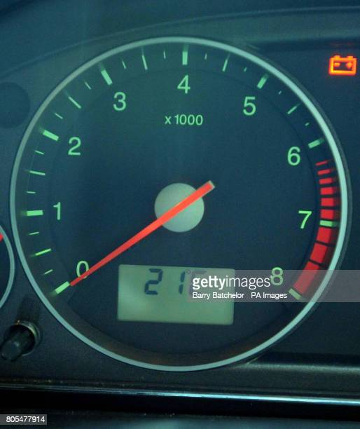 Car dashboard temperature gauge indicates an outside temperature of 21C on the MonmouthshireGloucestershire border this afternoon