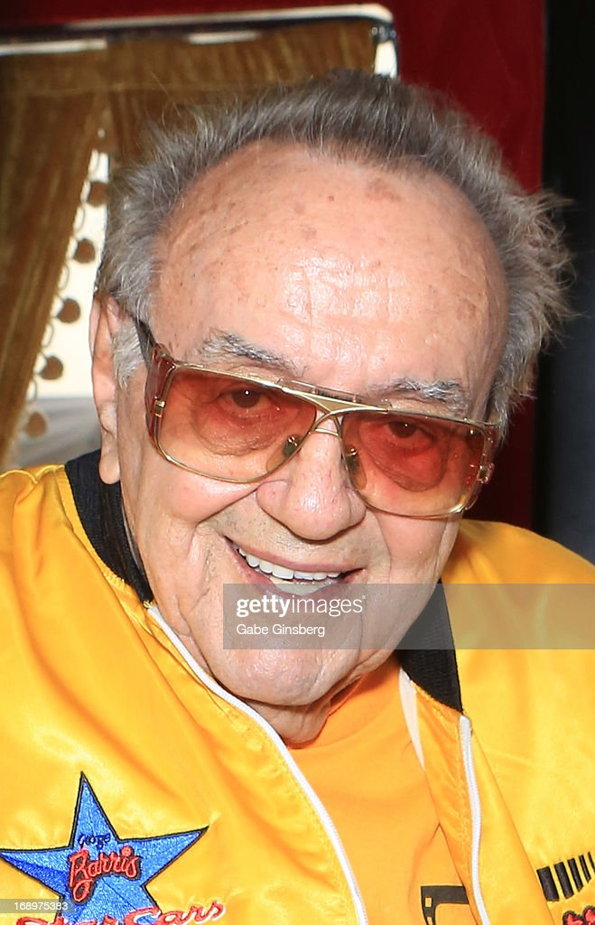 Car designer <a gi-track='captionPersonalityLinkClicked' href=/galleries/search?phrase=George+Barris+-+Car+Designer&family=editorial&specificpeople=560096 ng-click='$event.stopPropagation()'>George Barris</a> arrives at the opening ceremony of Las Vegas Car Stars at the Fremont Street Experience on May 17, 2013 in Las Vegas, Nevada.