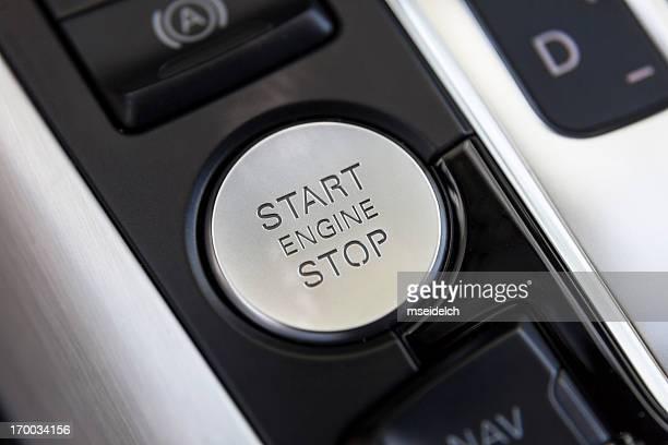 Voiture détail. Démarrer/arrêter moteur bouton close-up