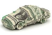 Dollar Car. Money origami. Car made from American One dollar bill