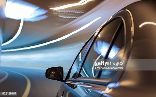 car drives through a tunnel
