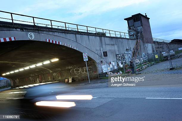 A car drives through the tunnel near the memorial to victims of the 2010 Loveparade disaster near to where many of the deaths occurred on July 19...