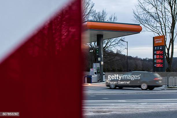 A car drives to a petrol station just a few meters behind the border between Poland and Germany on January 31 2016 in Zgorzelec Many german people...