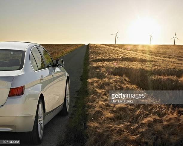 Car driving down road
