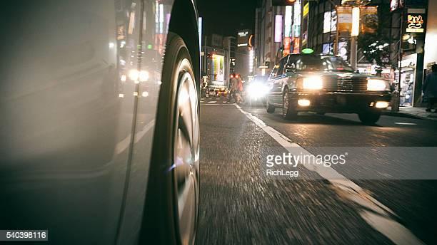 Car driving in Shibuya Japan