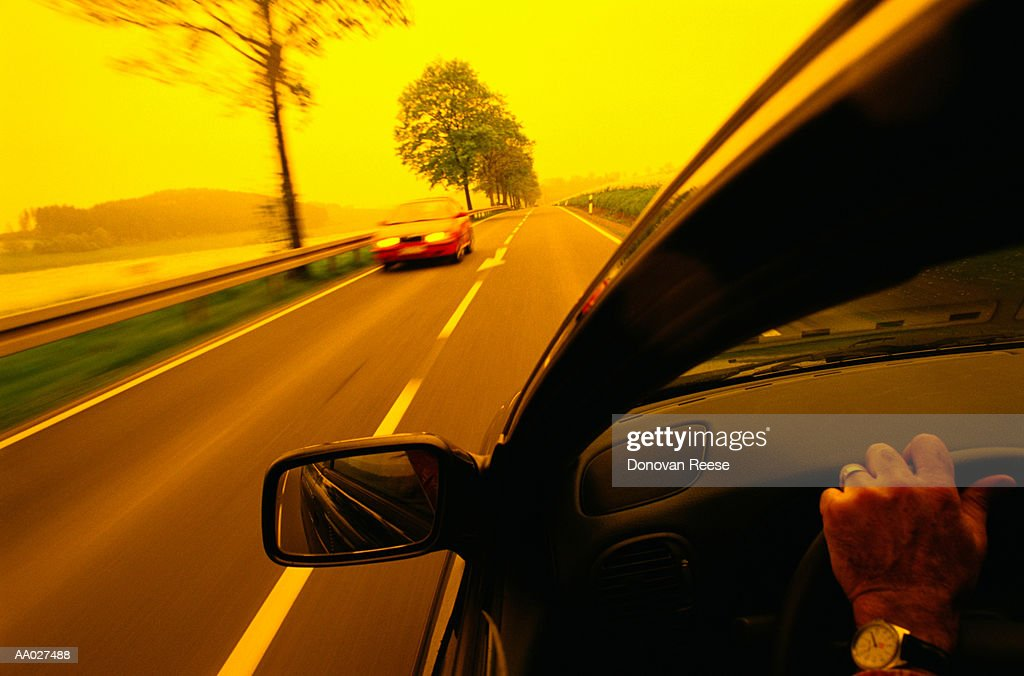 Car Driving on Country Road, Germany : Stock Photo