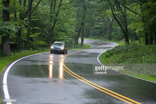 Car driving on Skyline Drive, Shenandoah National Forest, Virginia