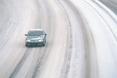 Car driving on snowy motorway
