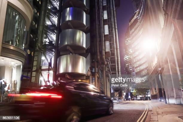 Car driving on urban street