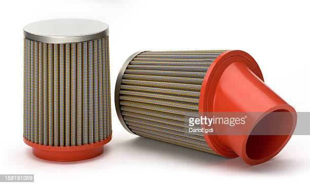 Car engine air filter on white background