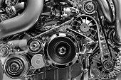 Car engine, concept of modern vehicle motor with metal, chrome details, automobile industry, monochrome