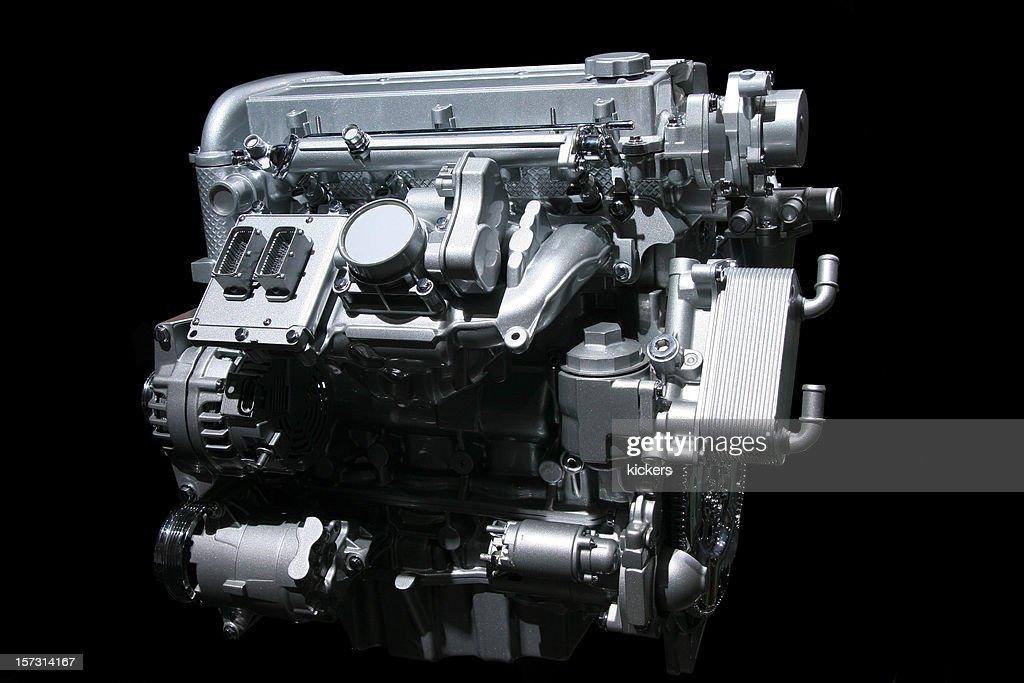 Car engine on black
