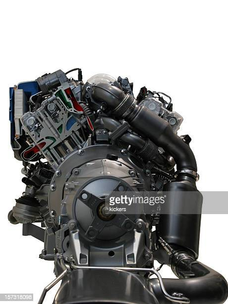 Car engine on white