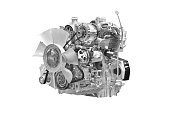 Car engine. Concept of modern car engine isolated on white background.with clipping path
