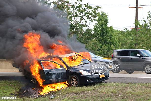 Car engulfed in flames on New Jersey highway
