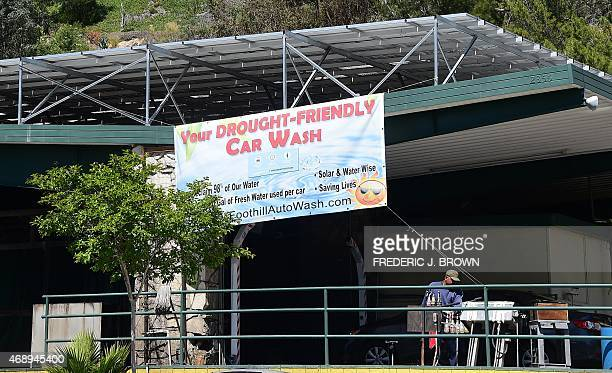 A car enters what claims to be a droughtfriendly carwash on April 8 2015 in La Canada Flintridge California on the foothills of the San Gabriel...
