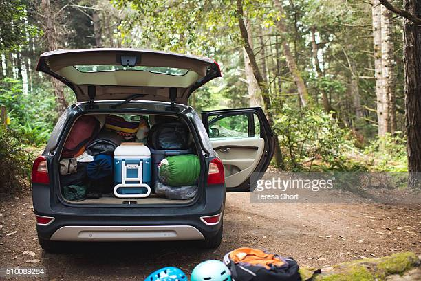 Car filled and packed up at campsite