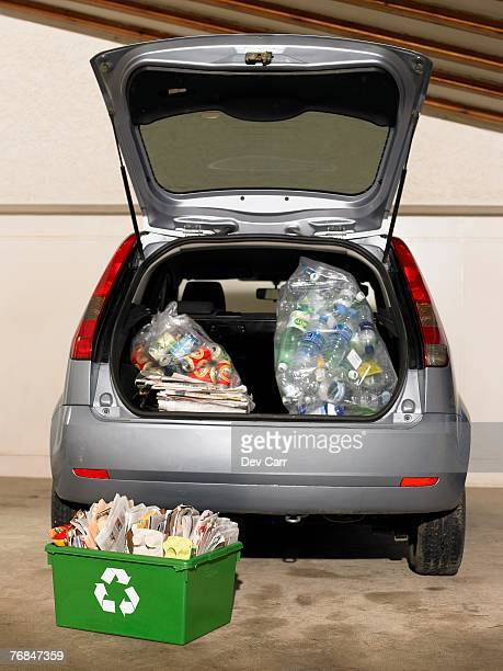 Car filled with recycling