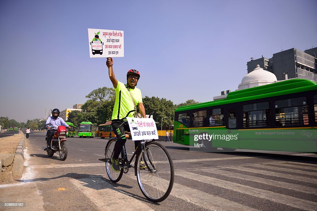Car Free Day from Red Fort to India Gate on October 22, 2015 in New Delhi, India.
