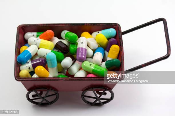 Car full of medicines and pills to cure diseases