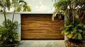 Rio de Janeiro, Brazil - circa December, 2017: Car garage door at luxury home in rich district of Rio de Janeiro, Brazil