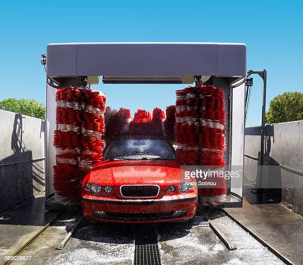 Car going through a carwash machine
