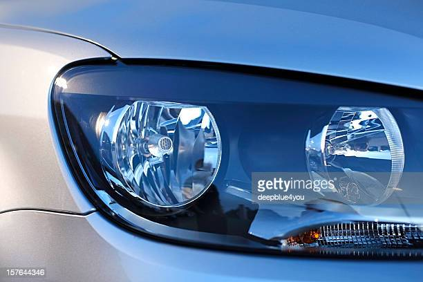 Car headlight close up