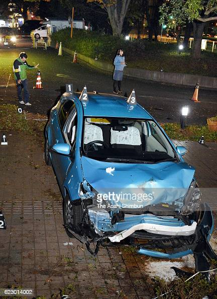 A car hit and killed two people on a sidewalk near the National Hospital Organization Disaster Medical Center on November 12 2016 in Tachikawa Tokyo...