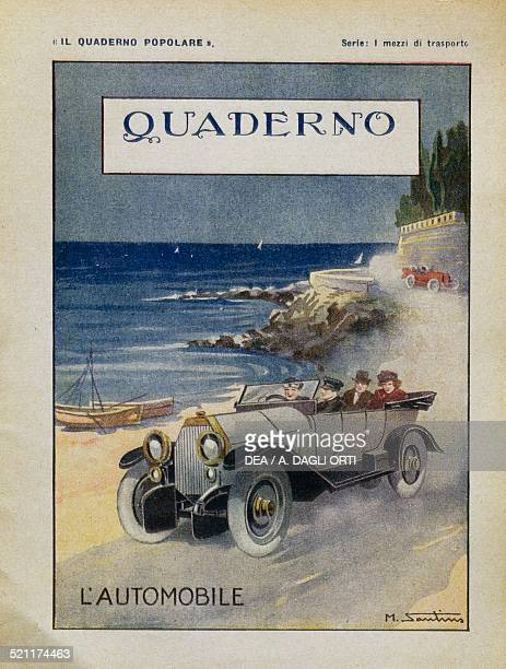 A car illustrated school exercise book cover 1920s Italy 20th century Italy