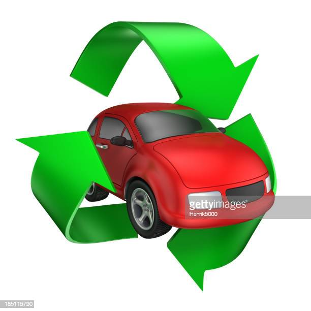 Car in recycle symbol - isolated / clipping path