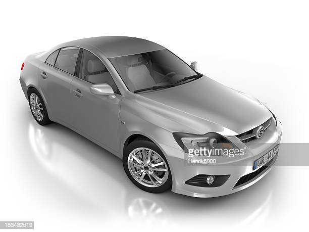 Car in studio - isolated on white