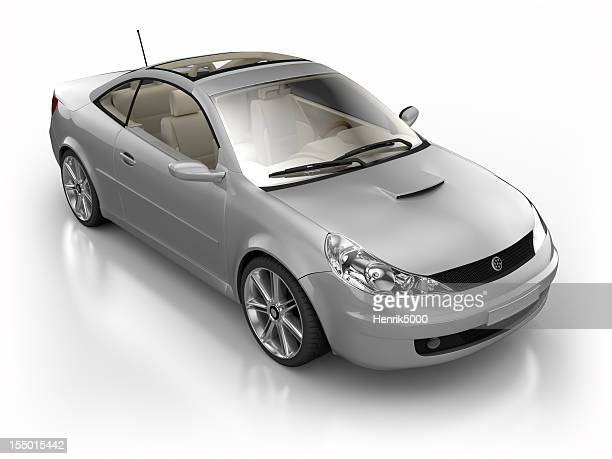 Car in studio - isolated on white with clipping path
