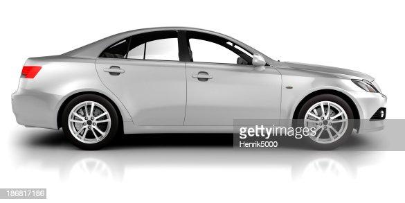 車でのスタジオの側面図の-白で分離