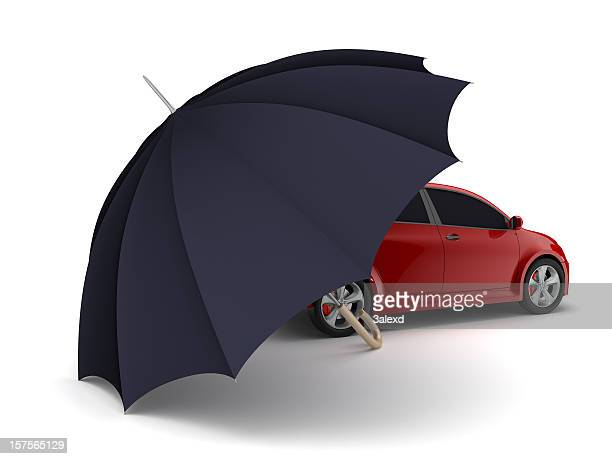 Car insurance concept with umbrella over car