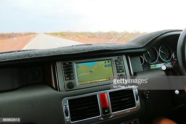 Car Interior With Gps On Dashboard