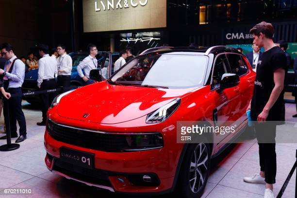 A LYNK CO 01 car is displayed during the first day of the 17th Shanghai International Automobile Industry Exhibition in Shanghai on April 19 2017...