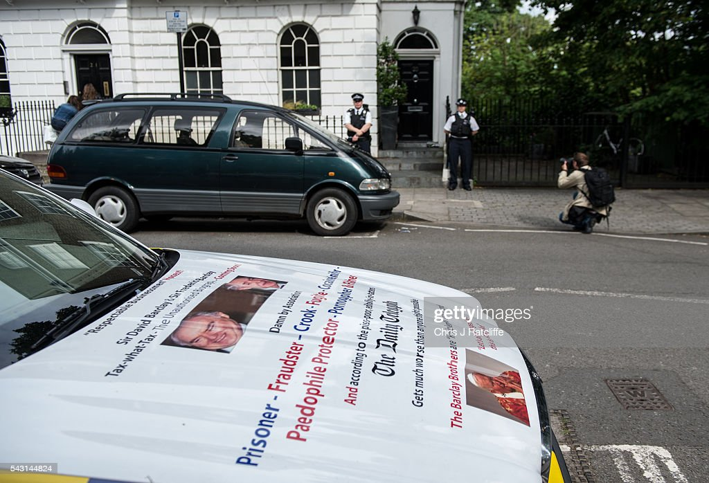 A car is parked across the road from Boris Johnson's London home with protest statements about the Barclay brothers written on it on June 24, 2016 in London, England. Former Mayor of London, Boris Johnson, was a key figure in campaigning for a 'Leave' vote in the recent British EU referendum.