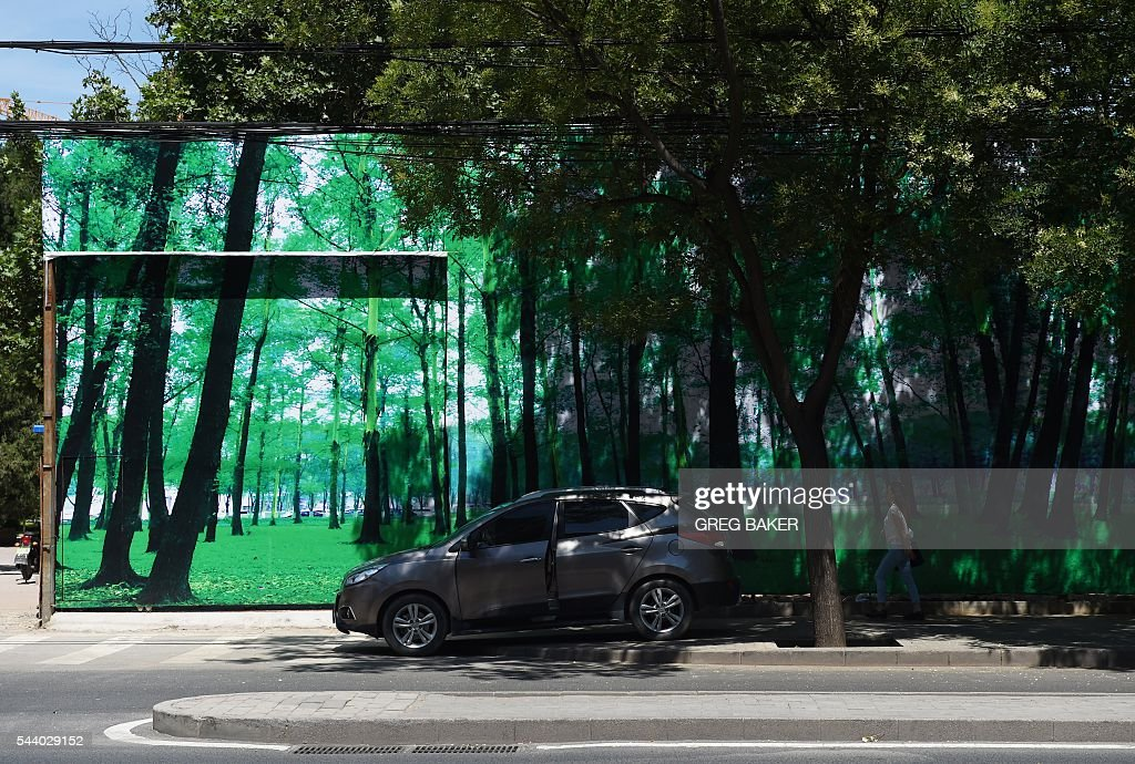 A car is parked in front of a billboard featuring an image of trees, in front of real trees in Beijing on July 1, 2016. / AFP / GREG