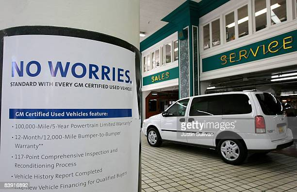 A car is seen on display at Ellis Brooks Chevrolet December 4 2008 in San Francisco California The fate of car dealerships hang in the balance as the...