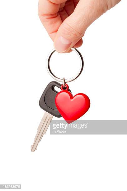 Car key and heart shaped keyring