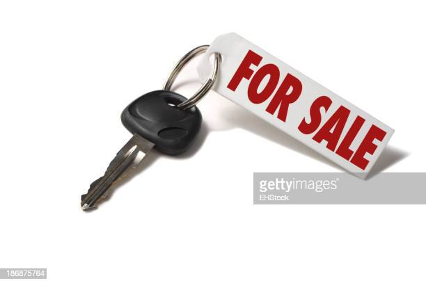Car Key with For Sale Tag Isolated on White Background