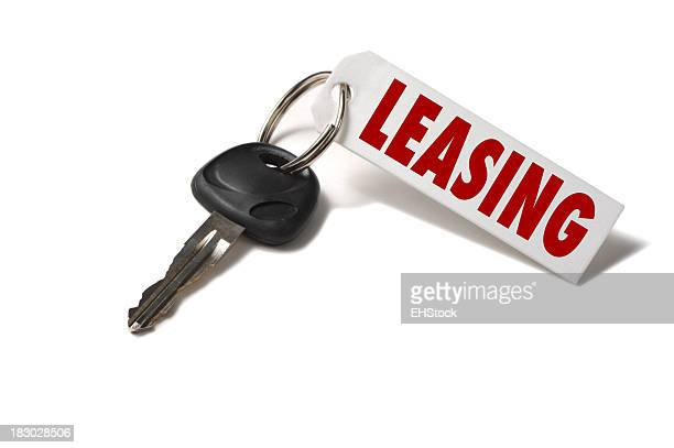 Car Key with Leasing Tag Isolated on White Background