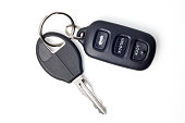 Car keys and remote on white with clipping path.