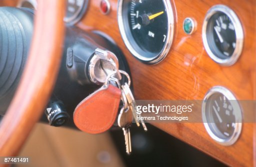 Car keys in ignition : Stock Photo