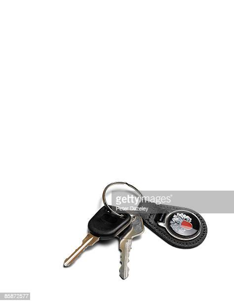 Car keys on white background.