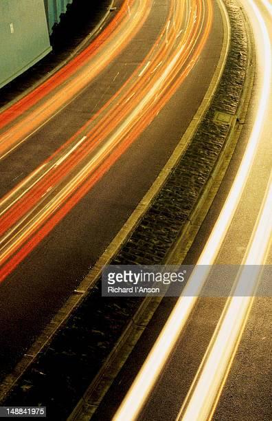 Car light trails on the Esplanade in St Kilda.