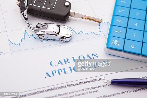Auto Darlehen Antragsformular mit Stift : Stock-Foto
