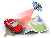 3d illustration of car location tracking with satellite navigation