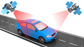 3d illustration of car location tracking with satellites