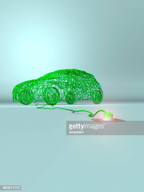 Car made of green wires in a green environment